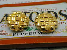 on earrings with diamond cut pattern Italy made sterling gold plated clip
