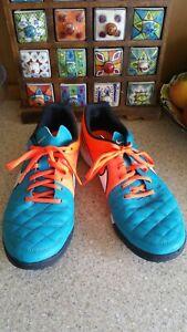 Nike Tiempo blue & orange Football Trainers Size UK 11  2014/ 631234-418