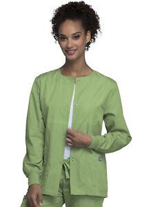 Cherokee Workwear Women Originals Snap Front Warm-Up Jacket 4350 SAGW SageGreen