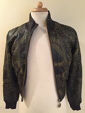 Rare Authentic ROCA WEAR Womens Black Leather Embroidered Zip Jacket Coat Sz S