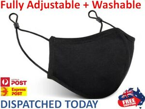 Three Layer Cotton Washable Unisex Face Mask Mouth Masks Protective Reusable OZ