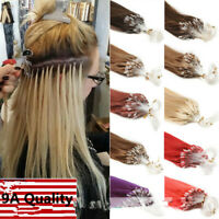 Micro Ring Beads Loop Tip Link Indian Remy Human Hair Extensions Straight 100S