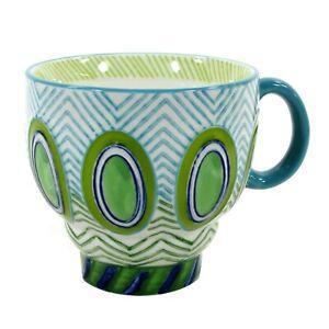 Anthropologie GREEN OVALS BLUE ZIG ZAG 12oz Footed Mug Embossed Porcelain