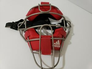 Adidas PS Pro Series Issue Baseball Catchers Umpires Mask Red Silver D85022