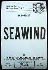 SEAWIND Light The Light USA Concert Poster Mint- 1981 Golden Bear ORIGINAL!!!
