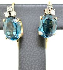 5ct Natural London Blue Topaz and Diamond 14K Yellow Gold Earrings