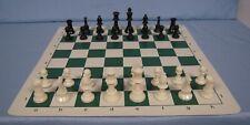 "Analysis Chess Set - 13.75"" Green Vinyl Chess Board – 32 Black & Natural Pieces"