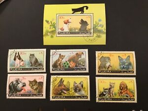 ICOLLECTZONE Fujeira Pets Dogs and Cat Souvenir Sheet & Stamp Set 1971