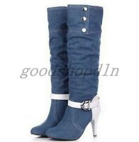 Womens Denim Pointy Toe Buckle Stiletto Heel Knee High Riding Boots Cowboy Shoes