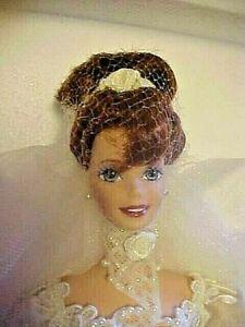 BARBIE DOLL 1995 ROMANTIC ROSE BRIDE PORCELAIN THE WEDDING FLOWER 14541