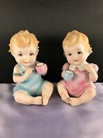 Vintage PAIR Lefton China #3499 Porcelain Bisque Baby Girl&Baby Boy Figurines