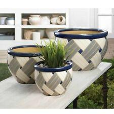 Modern Geo Print Planters Set of 3 Indoor Outdoor Ceramic Flower Pots