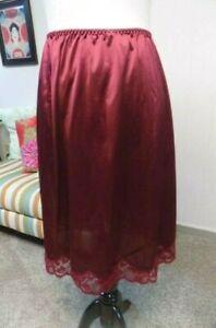 Vintage GIGI Deep Cranberry Nylon Lace Trim Half Slip Large