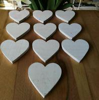 10 x Dicke Gesägte Holzherzen Herzen Holz 7 cm Weiß Tischdekoration Beschriften