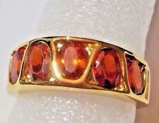 """RING UNUSUAL """"S""""SHAPED INLAY GARNET RING SIZE 6.75"""
