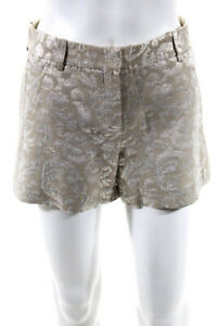 Theory Womens Mid Rise Print Wide Leg Dress Shorts Beige Silver Size 2