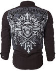 Xtreme Couture AFFLICTION Men BUTTON DOWN Shirt SARASEN Skull Cross UFC Roar $78