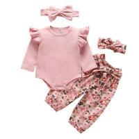 4pcs Leisure Baby Girl Clothes Set Long Sleeve Romper+Pants+Two Headdresses K1B