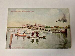 Vintage Water Carnival, Winona Lake, Indiana. Warsaw Steam Ship Boats Post Card.