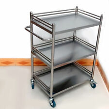 Stainless Steel Three Layers Serving Cart Medical Dental Lab Trolley Durable BMG