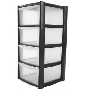 4 Drawer Storage Large Plastic Drawer Tower Schools, Offices Home Room Toy Books