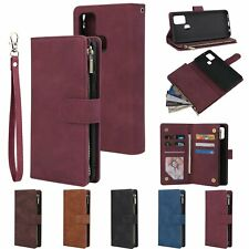 Zipper Wallet Leather Flip Case Card Stand Cover For Samsung Galaxy Phone model