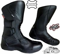 BLACK DOUBLE BUCKLE MENS MOTORBIKE / MOTORCYCLE TOURING LEATHER SHOES BOOTS