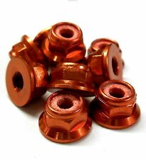L1474 1/10 Scale RC Car Alloy M4 4mm Thread Nylon Lock Nuts Flanged x 10 Red