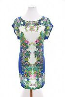 NWOT Zara Silky Oriental Botanical Floral Shift Dress Art-to-Wear Blue Sz Small