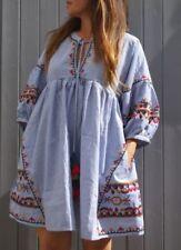 Boho 3/4 Sleeve Striped Dresses for Women