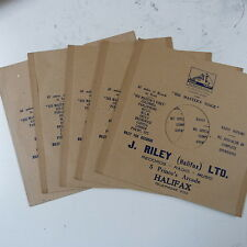 "5x 78rpm 10"" card gramophone record sleeves J RILEY , HALIFAX"