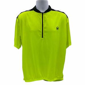 Canari Cycling Jersey Shirt Mens XXL Short Sleeve Neon Yellow Back Pouches