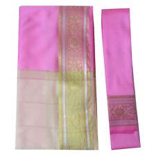 Sari indiano rosa beige broccato oro abito tradizionale Bindi donna poliestere