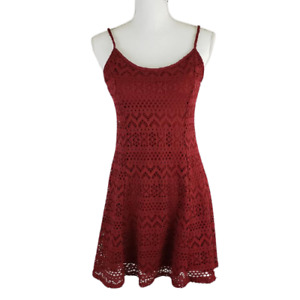 RUE21 Maroon Lace Dress, Sleeveless, Fully Lined, Spaghetti Straps, Pullover