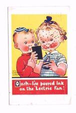 Comic 'Oosh I'se Poured Ink On The 'Lectric Fan ! Rita Florence Weston Postcard
