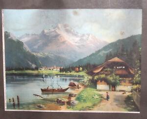 Vintage mountain lake landscape print