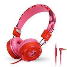 RockPapa Headphones for Girls Kids Teens Samsung Phones Tablets Kindle DVD Pink