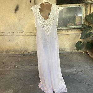 Antique Edwardian Pink Silk Nightgown Dress Oversized Floral Lace Comfy Vintage
