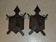 Pair of Plaques With Swords Mace Ball & Chain Wall Hangers Medieval Decor M