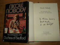NICOLE NOBODY The Autobiography of the Duchess of Bedford,SIGNED COPY F/E H/B