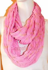 New Pink Light Weight All Season Chain Gliding Crinkle Infinity Scarf Loop Cowl