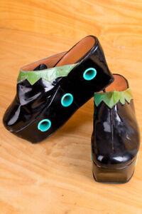 Vintage Original 60er Platform Shoes Slippers Black Patent Holes Flashy 36 37