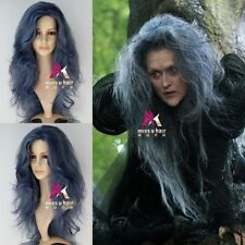 Disney Movie Into the Woods Synthetic Long Wavy Grey Witch Wig Anime Cosplay Wig