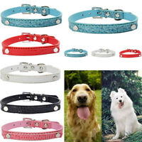 Adjustable Personalised PU Leather Dog Collar Pet Cat Puppy Tag Soft Durable