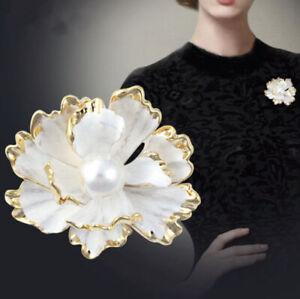 Bijou-Grande Broche,Fleure Camélia,Blanche,OR,Perle,Mode,Cadeau Femme,Élégant,FR