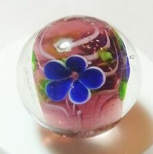 "HANDMADE GLASS MARBLE FLORALS ""PAEONY PURPLE AND BLUE""  22mm SHOOTER"