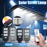 600W LED Solar Street Light PIR Motion Sensor Outdoor Garden Wall Lamp+Remote