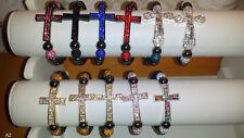 Joblot 30pcs Diamante Crucifix cross Bracelets - NEW Wholesale lot A2