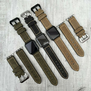 For Apple watch 7 6 SE 5 4 40mm 41mm 44mm 45mm Canvas & leather watch strap Band