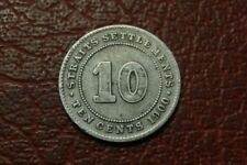 STRAITS SETTLEMENTS SILVER 10 CENTS  1900  (1417)
